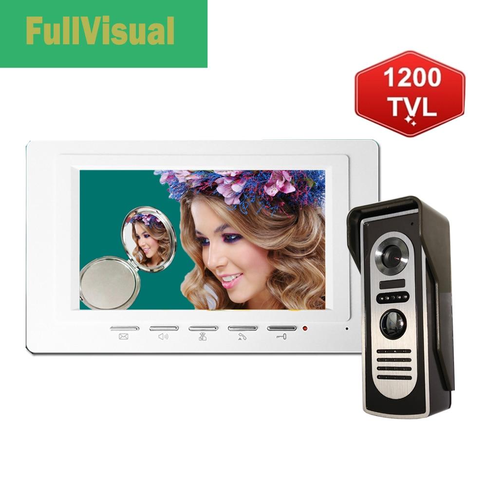 Fullvisual 1200TVL Video Door Phone Intercom Video Doorbell With Monitor 7 Inch Waterproof Camera Access Contro System Unlock