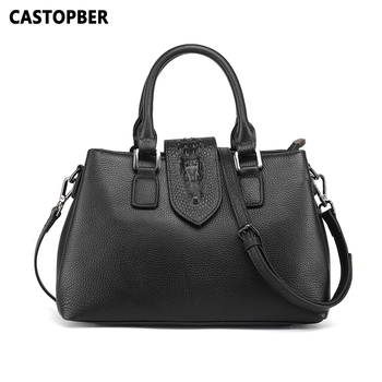 Women's Casual Top Handle Bags Cow Genuine Leather Fashion Corodile Shoulder Handbags European and American Style Ladies Purse