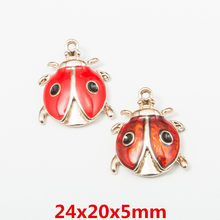 10pcs 24*20mm Gold enamel ladybug ladybird lady beetle charms Diy Bracelet pendants Alloy earring Jewelry making Accessories(China)