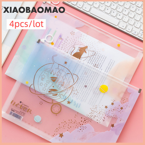 4pcs/set Cute Cartoon Zipper Transparent File Folder Document Filing Bag Stationery Bag