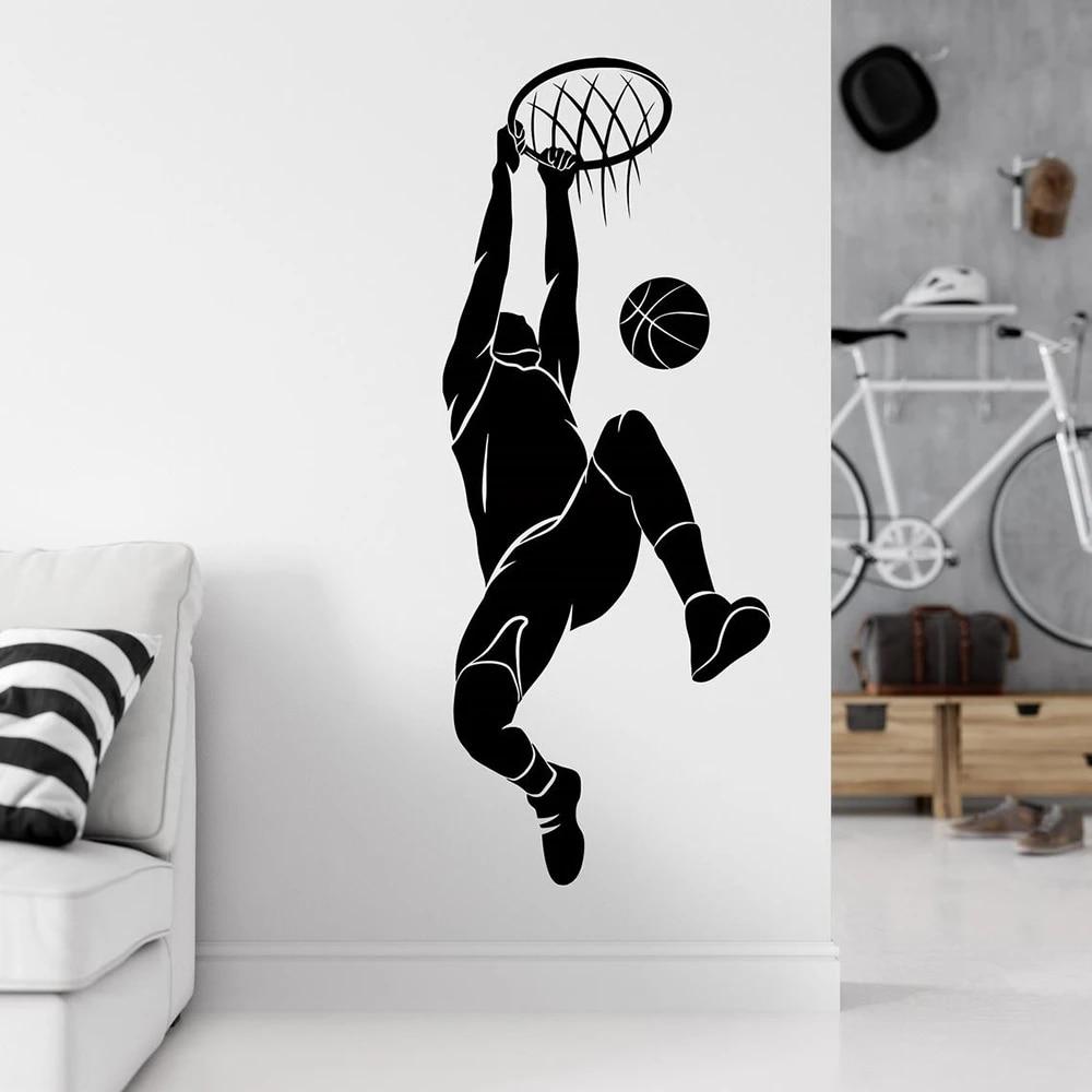Basketball Sports Wall Decal Basketball Player Silhouette Wall Sticker Boys Room Decor Vinyl Basketball Wall Decor Decals C187 Wall Stickers Aliexpress