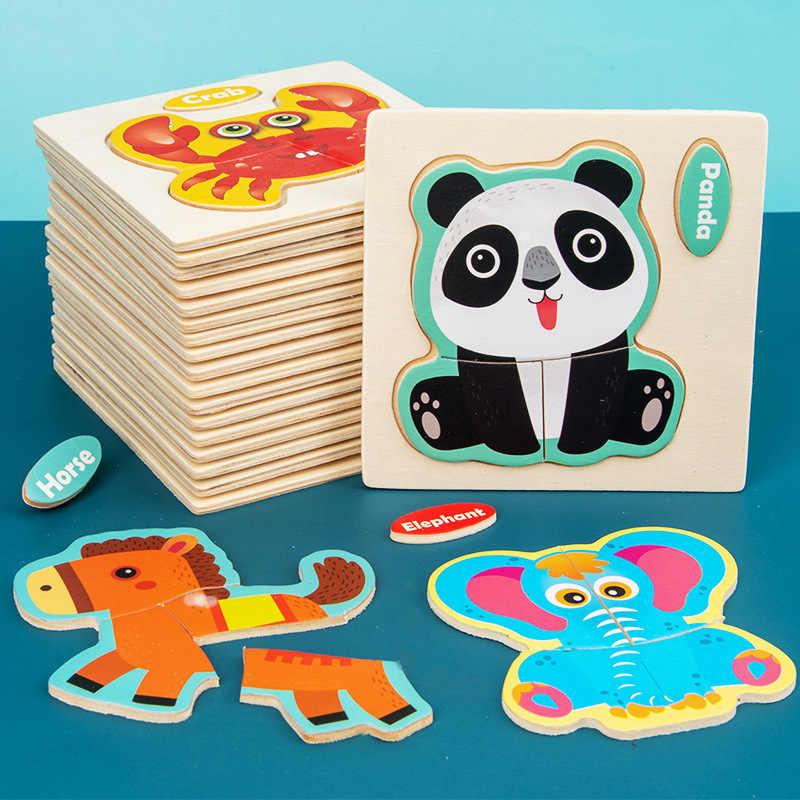 3D Puzzle Kayu Mainan Jigsaw untuk Anak-anak Kayu 3d Kartun Hewan Teka-teki Kecerdasan Anak-anak Awal Mainan Pendidikan untuk Anak-anak