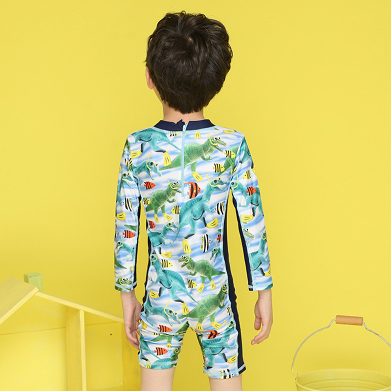 Children Fashion & Sports One-piece Swimming Suit South Korea Long Sleeve Sun Blocking BOY'S Big Virgin Boy Baby Swimming Trunks
