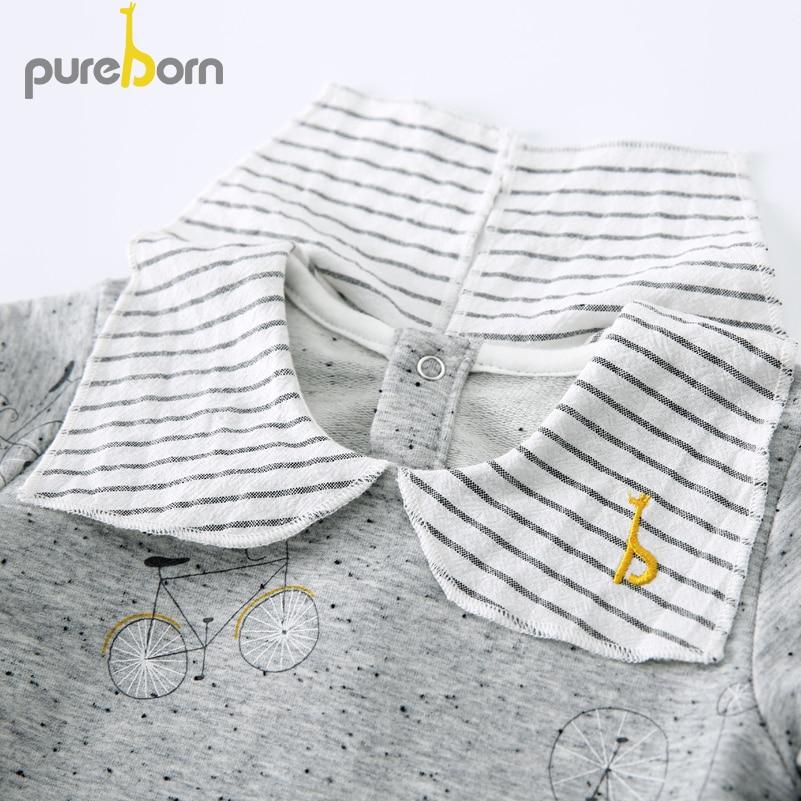 Pureborn Toddler Top T-shirt Collar Long Sleeve Cartoon T-shirt Newborn Baby Boys Girls Clothes Spring Autumn 3