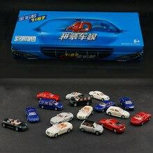 16 pièces/ensemble 4D en plastique assemblé voiture échelle 1:87 voitures modernes Collection Puzzle assembler des jouets pour les enfants