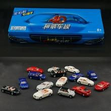 Juego de 16 piezas de escala de coche ensamblado de plástico 4D, colección de coches modernos de 1:87, juguete de rompecabezas de ensamblaje para niños