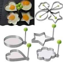 Stainless Steel Cooking Forming Omelette Mold Machine Frying Pan Pancake Heart-shaped Round Five-pointed Star Plum Mouse cheap CN(Origin) Egg Pancake Rings Eco-Friendly Stocked other Metal Silver (molds) Stainless steel food-grade material 1pcs