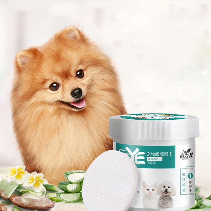 130pcs/set Pet Grooming Wipes Hypoallergenic Ear Cleaning Pad Eye Wipes For Dogs Cats Odor Eliminator Deodorizing Dog Wipes image