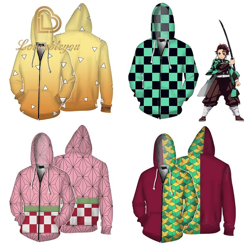 Children Jackets Coats 100cm - 160 Cm Demon Slayer: Kimetsu No Yaiba Hoodie Nezuko Sabito Iguro Obanai Cosplay Hooded Sweatshirt