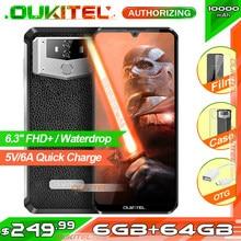 Oukitel k12 6.3 waterwaterwaterdrop 1080*2340 6gb 64gb android 9.0 smartphone face id 10000mah 5v/6a carga rápida otg nfc telefone móvel