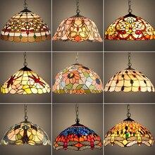 Tiffany barok vitray asma armatür E27 LED demir zincir kolye ışık aydınlatma lambası ev salonu yemek odası