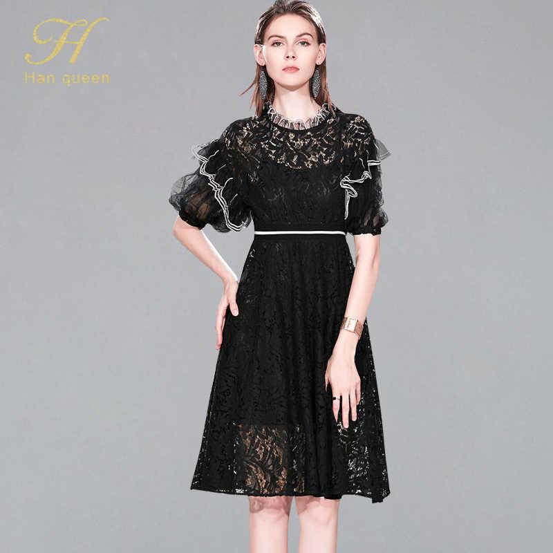 H han queen 2019 nouveauté noir/blanc femmes dentelle robe élégante dame soirée robes évider genou longueur Vestidos