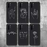 Abstract Lover Face Black Soft TPU Matte Case For Huawei P20 P20Lite P20Pro P30 Case Fundas Coque Cover For Case Huawei Honor 10