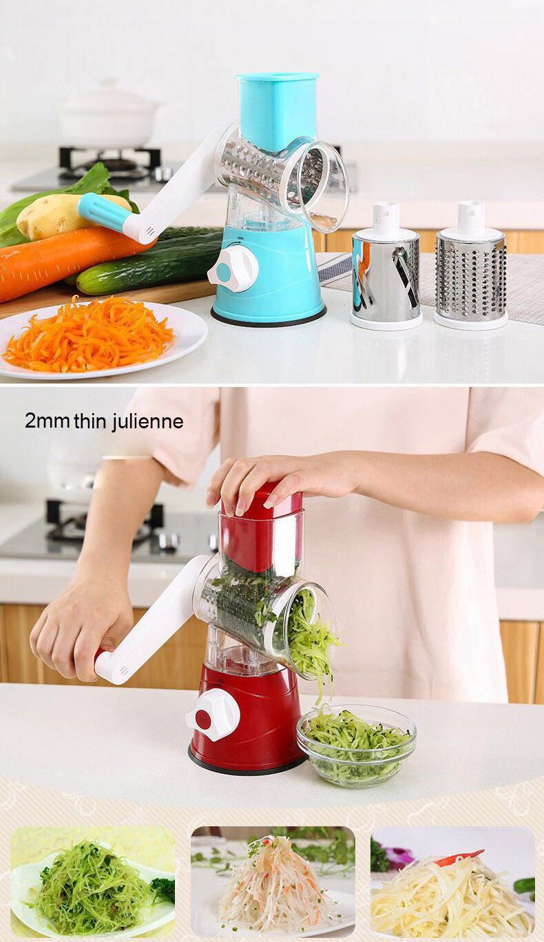 Image 4 - Vegetable Cutter Round Mandoline Slicer Potato Carrot Grater Slicer with 3 Stainless Steel Chopper Blades Kitchen ToolsGraters   -