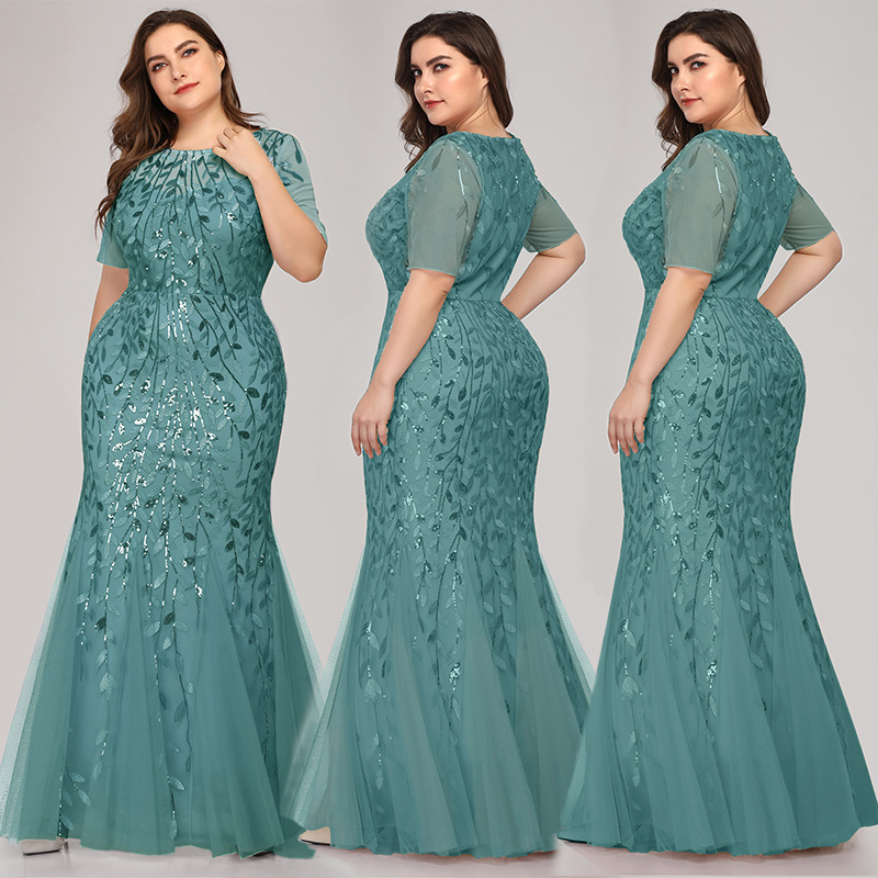 Queen Abby Вечерние платья Русалка с блестками Кружева Аппликации Элегантное Длинное платье русалки платье вечерние платья размера плюс - Цвет: Green1