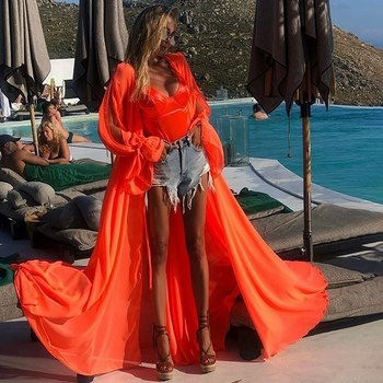 2020 Summer Sexy Bohemia Chiffon Cardigan Pareo Beach Cover Up Bikini Bathing Suit Cover Ups Long Dress Tunic kaftan Swimwear summer beach long maxi dress women bikini cover up beachwear swimwear kaftan tunic pareo bathing suit transparent cover ups