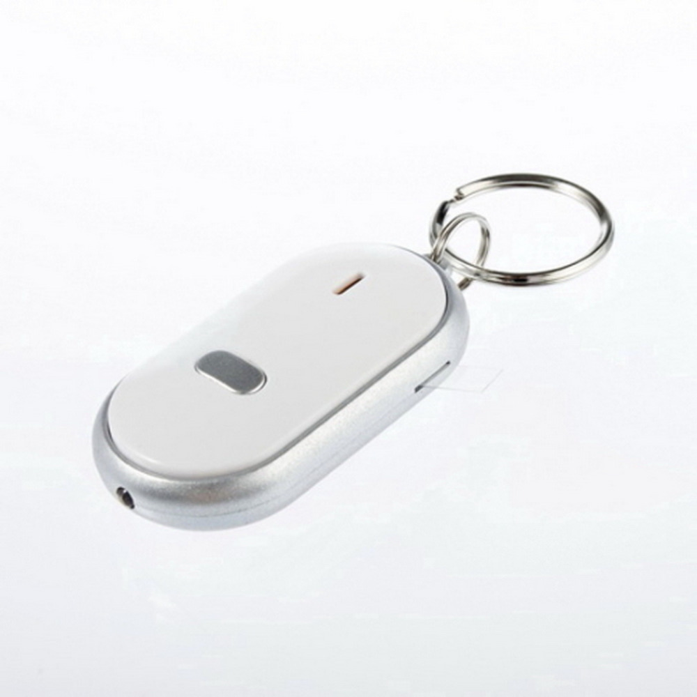 White Smart Finder Key Locator Anti-Lost Keys Chain Keychain Whistle Sound Control With LED Light Wholesale