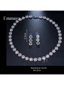 Wedding-Jewelry-Sets Cubic-Zircon Brides Emmaya Gold-Color Lover Brand Round White Gorgeous