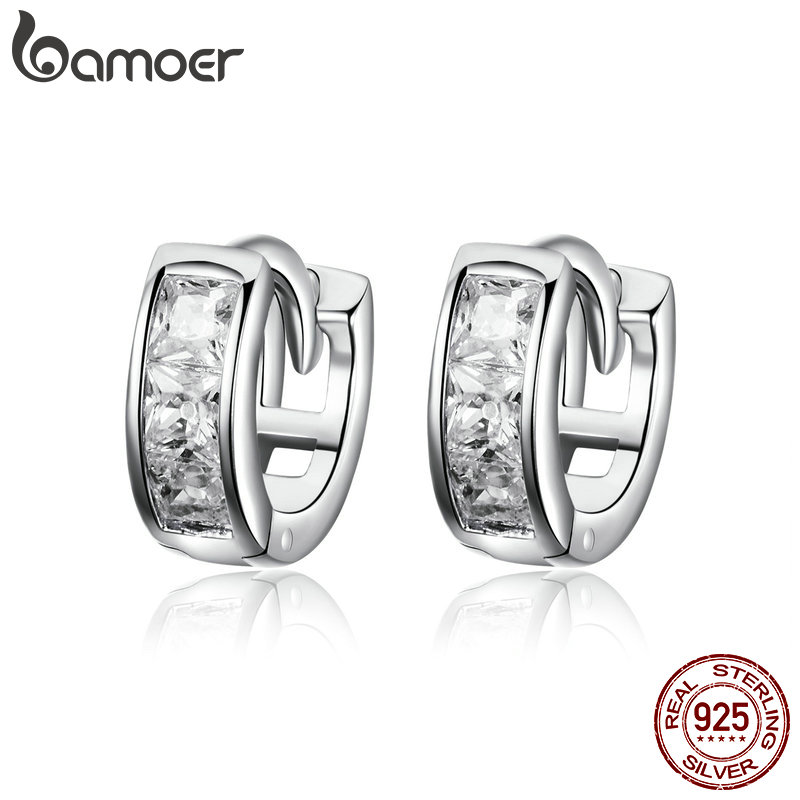 BAMOER Genuine 925 Sterling Silver Dazzling Cubic Zircon Geometric Small Stud Earrings For Women Sterling Silver Jewelry SCE515