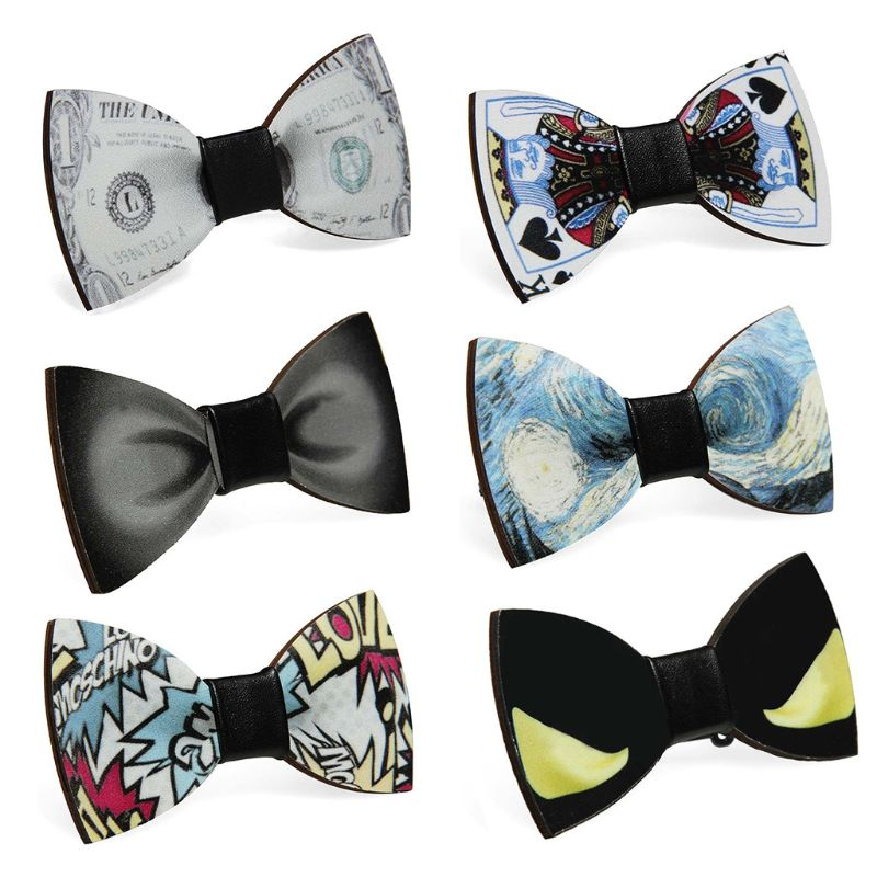 Creative Poker Dollar Letters Pattern Pre-Tied Wooden Bow Tie Men Boys Wedding Party Adjustable Butterfly Bowknot Suit Accessory
