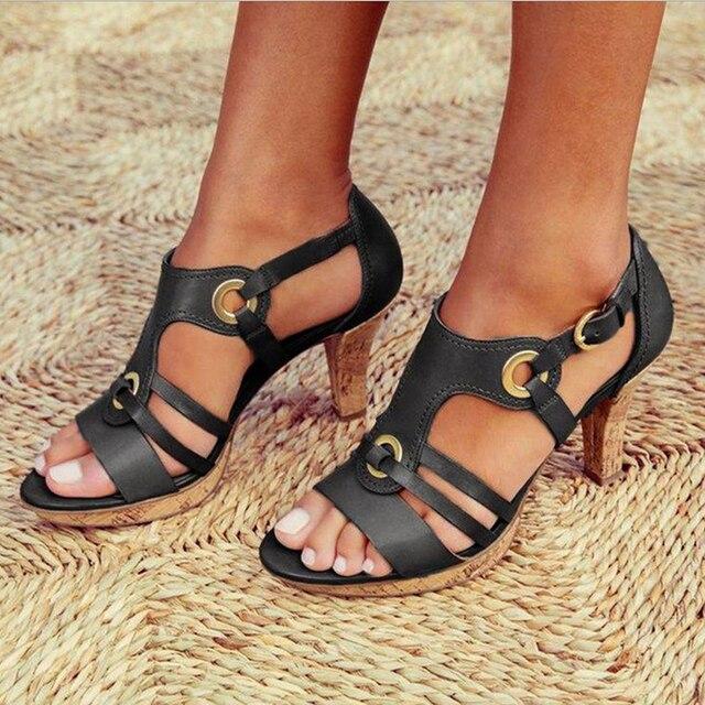 New Style Elegant Strap Sandals Women 2020 Sandals Female Bohemian Style Summer Fashion High Heels Women's Shoes Footwea
