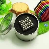 Novo 5mm 216 pçs neodímio magnético cubo mágico ímãs quebra-cabeça blocos bolas com caixa de metal presente natal para crianças
