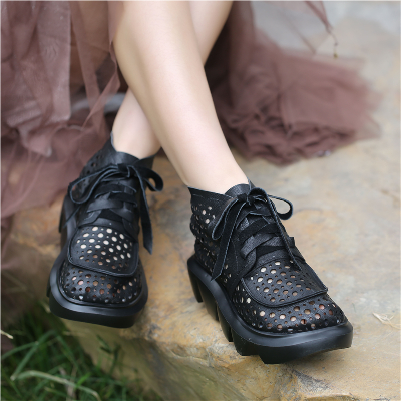 Women Leather Boots Summer Black Shoes Casual For Women Chunky Heels Gladiator Ankle Boots Genuine Leather Soft Boots Handmade