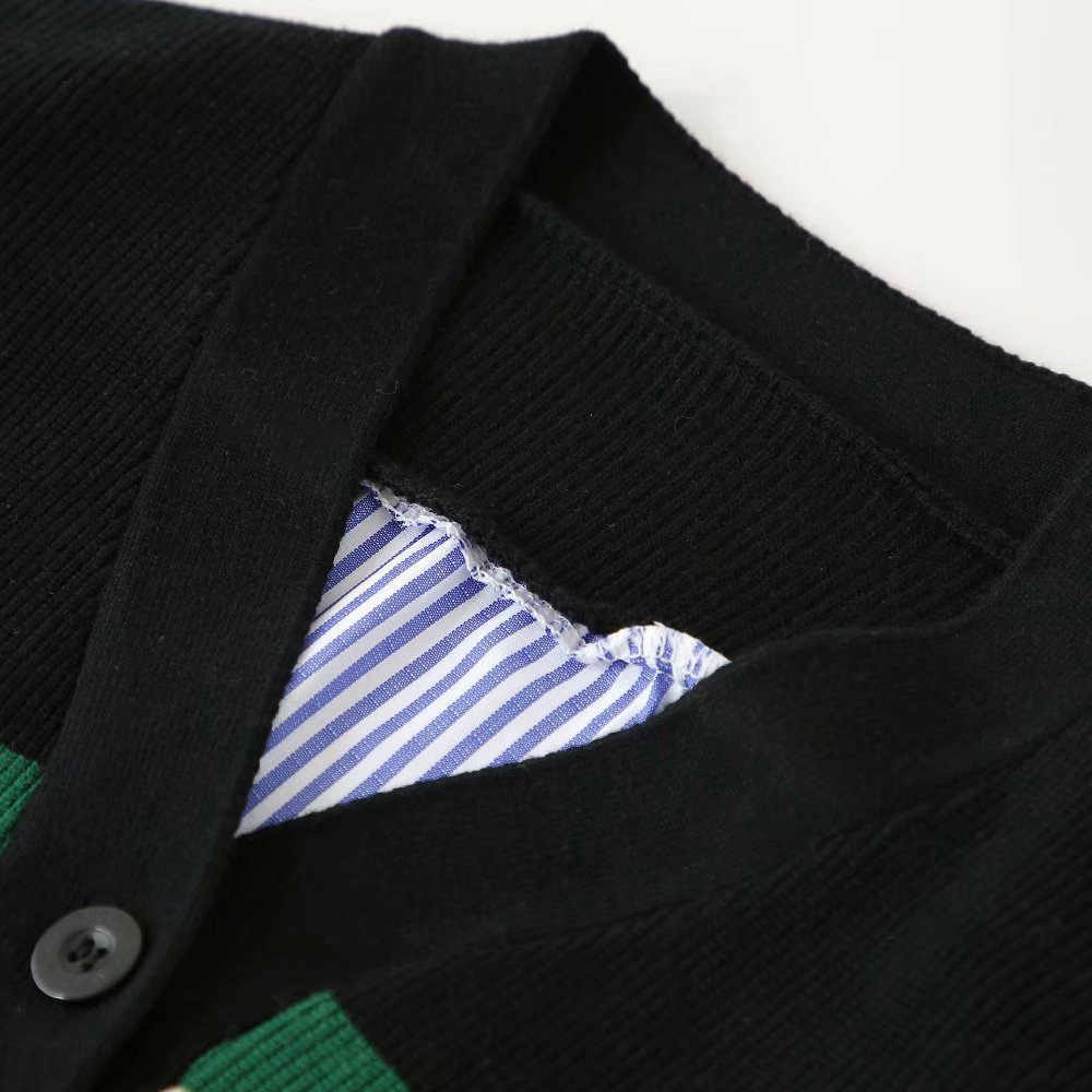 패션 za 여성 스웨터 가을 v-목 세련된 싱글 브레스트 패치 워크 카디건 긴 소매 느슨한 니트 스웨터 여성 숙녀