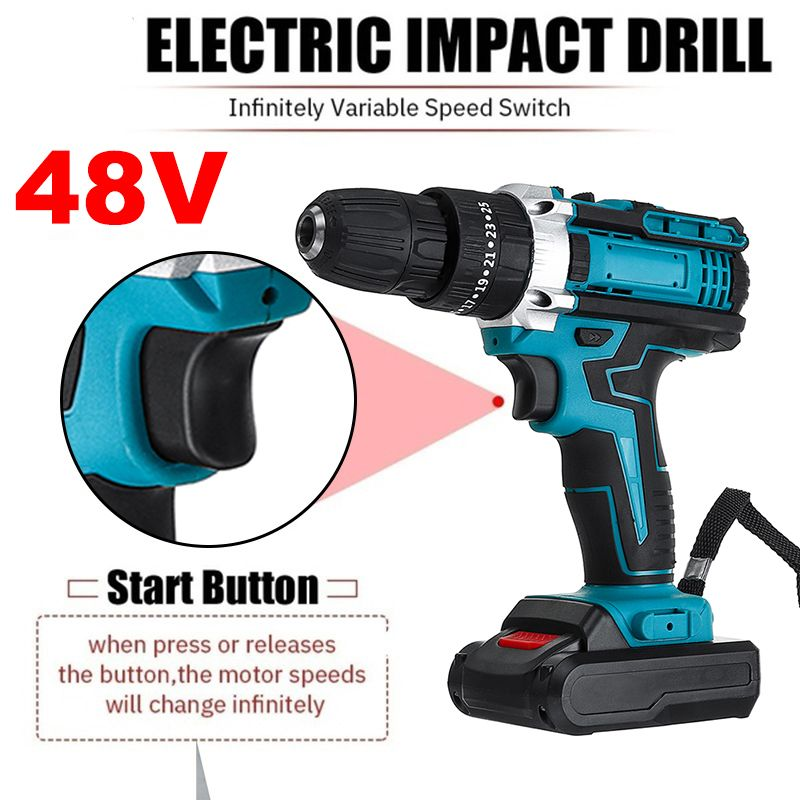 Screwdriver Drill Battery Power Impact Ion With Drill Electric 48V Electric Cordless Torque 2Pcs 25 Tool 3 Drill Lithium Hammer