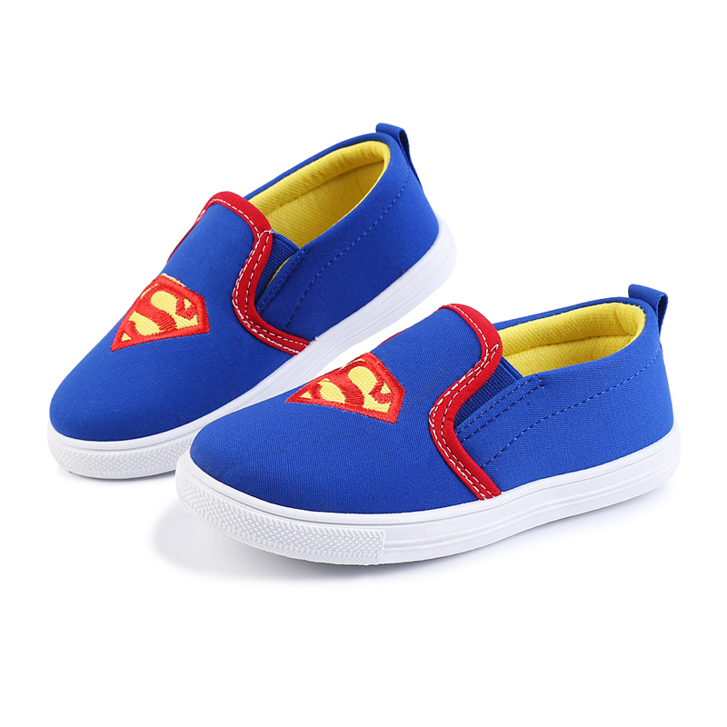 2019 Boys Shoes Kids Sneakers Children's Flat Shoes Soft Running Sports Shoes Superman Cotton Fabric Casual Flats Spiderman New