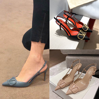 Women Sandals 2020 Sexy Thin Heel Pointed Single Shoes High-heeled Shoes Female One- Character Sandal summer Shoes