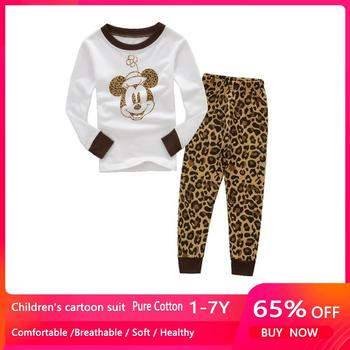 Autumn Winter Mickey Minnie Kids Girls Boys Clothes Baby Pajamas Long Sleeved Cartoon Children's Edward Sleepwear 1