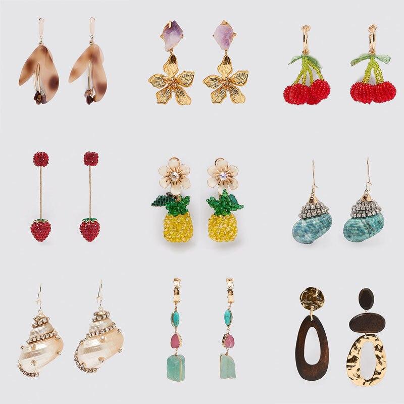 ZA 2020 New Trendy Cute Fruit Pineapple Cherry Tassel Long Drop Earrings For Women Boho Shell Rhinestone Dangle Earrings Jewelry