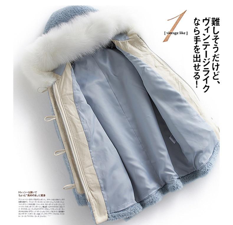 Real 2020 Fur Coat Winter Jacket Women Fox Fur Collar Sheep Shearling Fur Jackets For Women Korean 100% Wool Coats MY S S