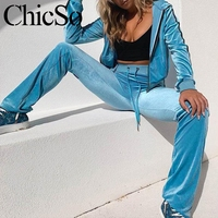 MissyChilli Velour long sleeve blue jumpsuit women Casual 2piece set long sports jumpsuit Autumn winter sexy warm overalls 2019