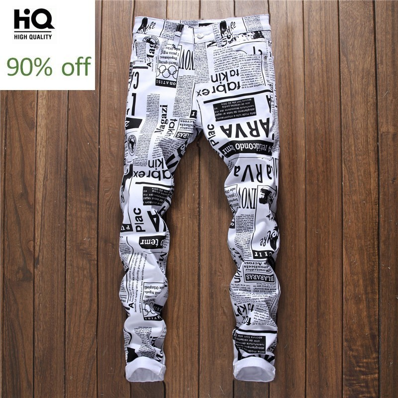 Summer New Casual Printed Letter Stretch Jeans Men Hip Hop Streetwear Fashions Slim Fit White Denim Trousers Male Jogger Jeans