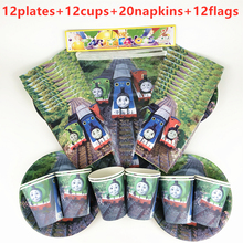 New 56pPcs Thomas Train Theme Disposable Tableware Kids Boy Birthday Party Decoration Paper Plate+Cup+Napkin+Flags Supplies