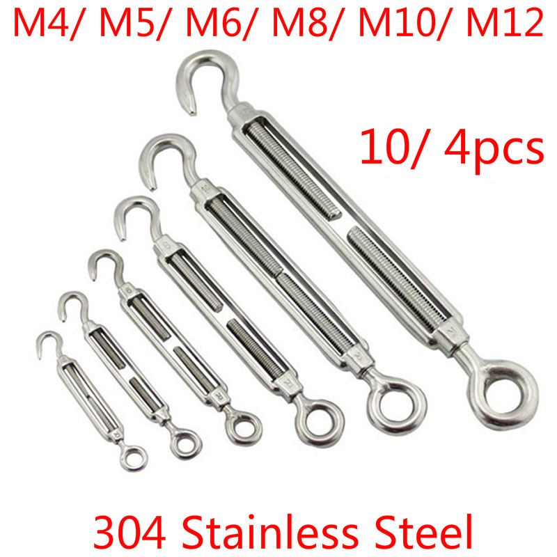 5 Pcs M4 Stainless Steel 304 Hook/&Eye Turnbuckle Wire Rope Tension Free Shipping