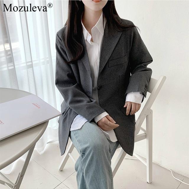 Mozuleva 2020 Retro Solid Blazer Set Single-breasted Jacket & Pencil Skirt 2 Pieces Skirt Suit Female Office Ladies Blazer Suit 5