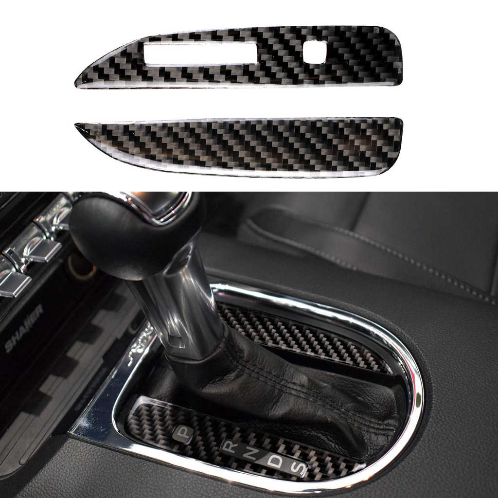 Car Gear Shift Knob Panel Frame Carbon Fiber Cover For Ford Mustang 2015-2017