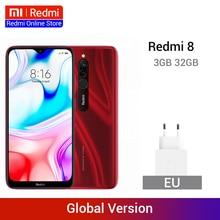 Xiaomi Redmi 8 с глобальной версией, 3 ГБ, 32 ГБ, Восьмиядерный процессор Snapdragon 439, двойная камера 12 МП, мобильный телефон с большой батареей емкостью 5000 мАч, OTA