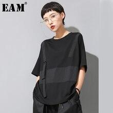 [EAM] femmes noir contraste couleur fendu grande taille T-shirt nouveau col rond demi manches mode marée printemps été 2021 1U136