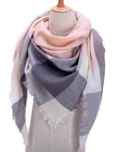 Scarf Plaid Shawls Pashmina Neck-Bandana Knitted Lady-Wrap Warm Designer Winter Women