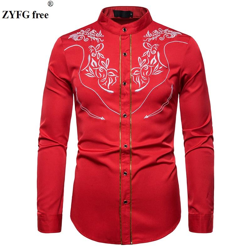 Spring Men Casual Shirt Mens Long Sleeve Pattern Embroidery Shirts Hemming Design Western Style Shirt Men EU Size Tops