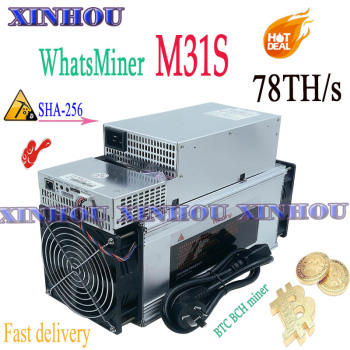 New WhatsMiner M31S 78T Bitcon BTC BCH mine With PSU Asic miner better than M20S M21S Innosilicon T3 T2T Antminer T17 S17+ S9 T9 baikal miner bk g28 28gh s with psu mining x11 quark qubit myriad groestl skein nist5 x11gost groestl better than x10 z9 mini a9