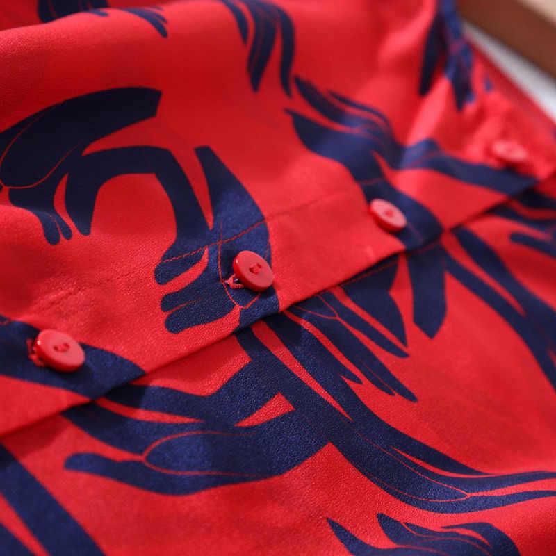Womens Tops En Blouses Harajuku Shirts Lange Mouwen Rode Blouse Echte Zijde Mode Kleding Vintage Shirt LWL1615