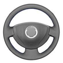 Capa de volante do carro de couro do falso do plutônio preto para renault logan 1 símbolo sandero clio twingo lada largus nissan almera g15