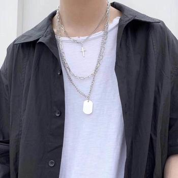2020 New Personality Cross Square Metal Multilayer Hip hop Long Chain Cool Simple Necklace For Women Men Jewelry Gifts 2