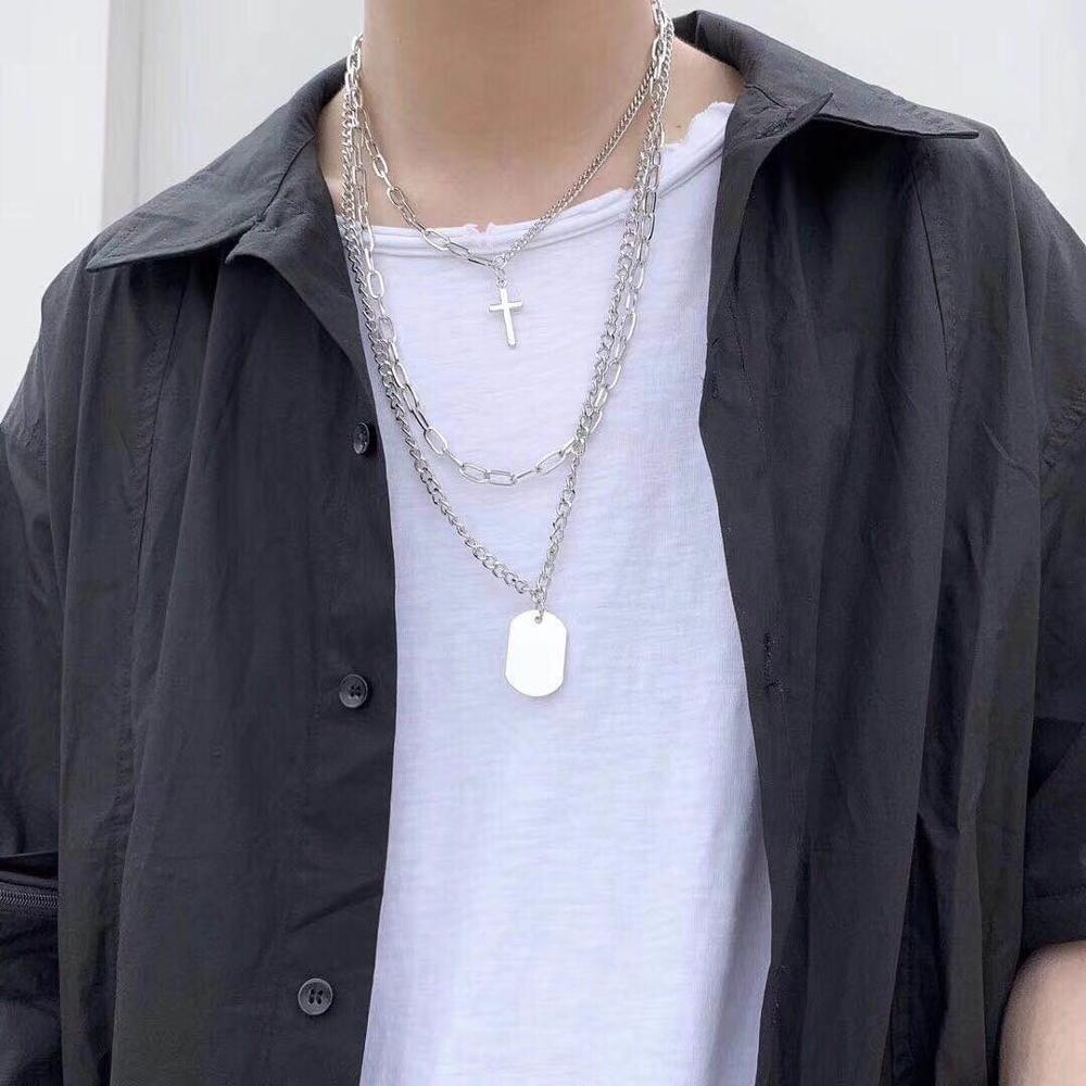 HUANZHI 2019 New Personality Cross Square Metal Multilayer Hip hop Long Chain Cool Simple Necklace For