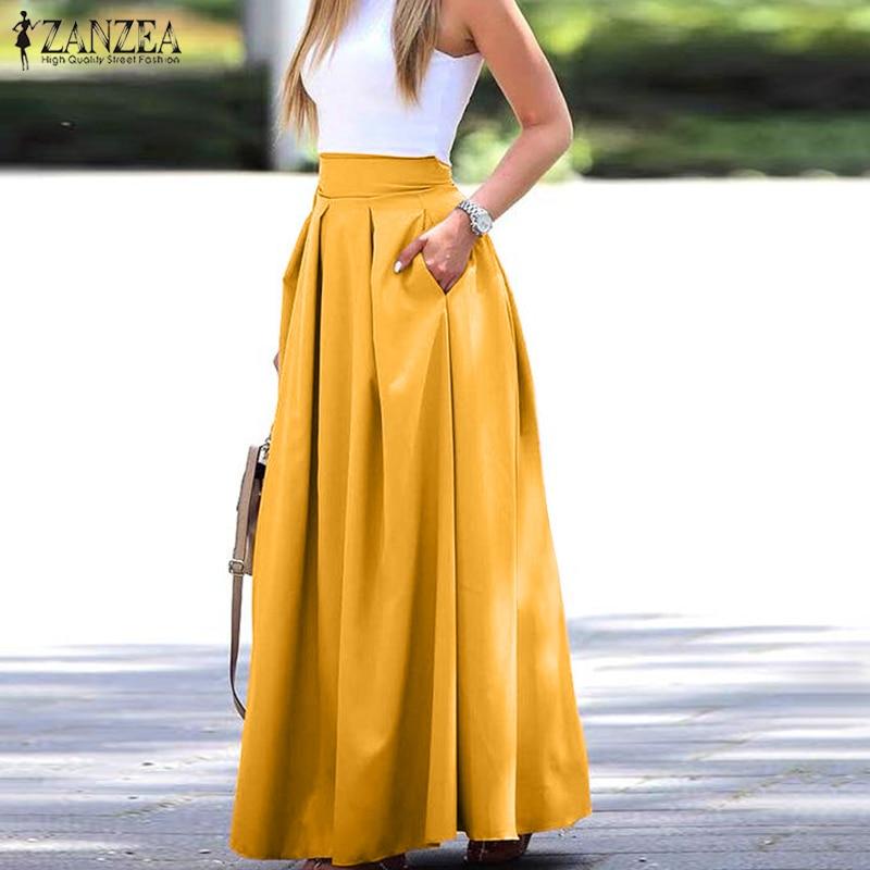 2020 Summer Solid Pleated Skirts ZANZEA Elegant Work OL Maxi Skirt Women Casual High Waist Long Skirts Faldas Saia Skirt Jupe